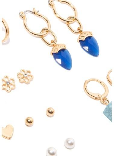 Mavi Altın Rengi Küpe Seti Altın